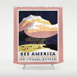 See America Montana travel ad Shower Curtain