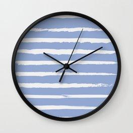 Irregular Hand Painted Stripes Light Blue Wall Clock