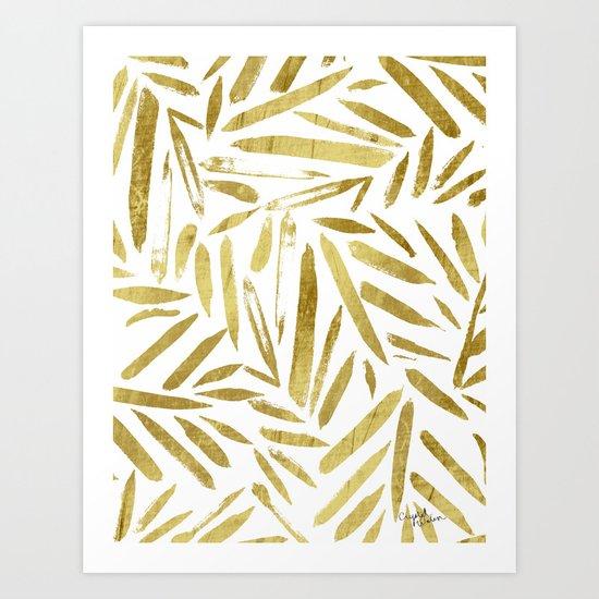 Glam Gold Leaves Art Print