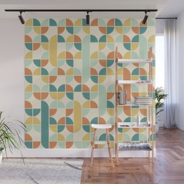 Mid Century Modern Geometric Pattern 1950s Colors Wall Mural