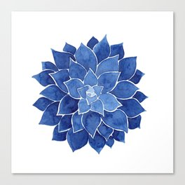Indigo Succulent |  Watercolor Painting Canvas Print