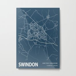 Swindon Blueprint Street Map, Swindon Colour Map Prints Metal Print