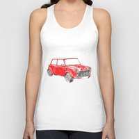 mini cooper Tank Tops featuring Red Mini Cooper by Meg Ashford