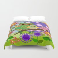 bebop Duvet Covers featuring Owls, Flowers Fantasy design by thea walstra