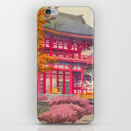 Japanese Woodblock Print Vintage Bright East Asian Red Pagoda Spring Garden iPhone Skin