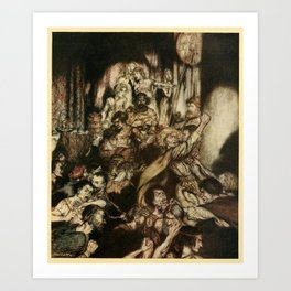 Arthur Rackham - Irish Fairy Tales (1920) - Brawl in a banqueting hall Art Print