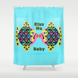 Gem Stone Fish, Kiss Me Baby Shower Curtain