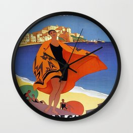 Vintage poster - La Plage de Calvi, La Corse, France Wall Clock