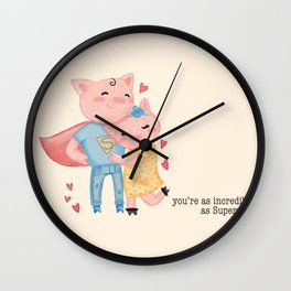 pig love Wall Clock