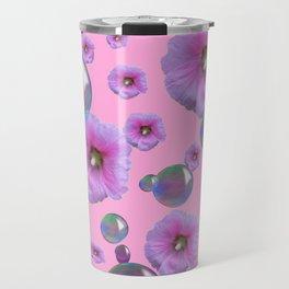 PINK-PURPLE FLOATING HOLLYHOCKS & SOAP BUBBLES PINK  ART Travel Mug