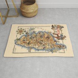 1951 Vintage Map of Corsica, France. Rug