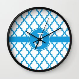 Blue Monogram: Letter J Wall Clock
