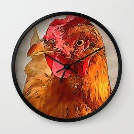 Farmyard Chicken Portrait Black Outline Art Wall Clock