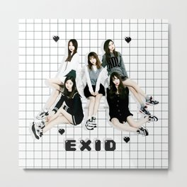 EXID Black Hearts and Grid Metal Print