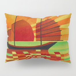 Junk on Sea of Green Cubist Abstract  Pillow Sham