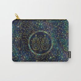 Gemini Zodiac Gold Abalone on Constellation Carry-All Pouch