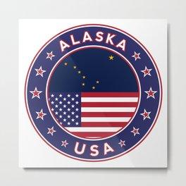 Alaska, Alaska t-shirt, Alaska sticker, circle, Alaska flag, white bg Metal Print