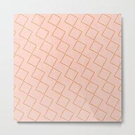 Tilting Diamonds in Peach Metal Print