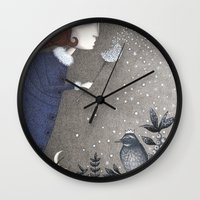 twilight Wall Clocks featuring Winter Twilight by Judith Clay