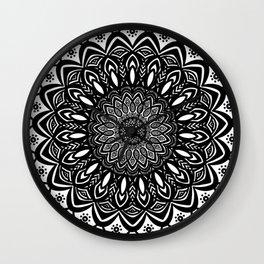 Bold Mandala Black and White Simple Minimal Minimalistic Wall Clock