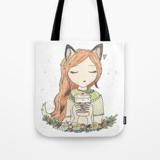 Fox and Beans Tote Bag