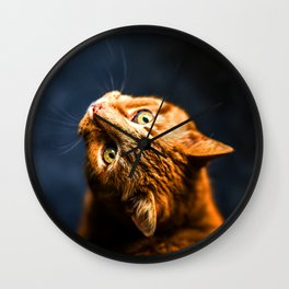 Ginger kitty cat Wall Clock