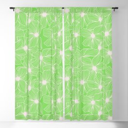 02 White Flowers on Green Blackout Curtain