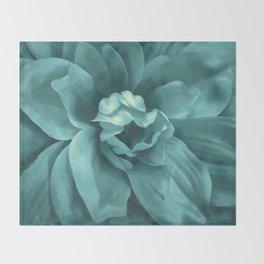 Soft Teal Flower Throw Blanket