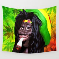 marijuana Wall Tapestries featuring Rastaman Marijuana Caricature 3d by BluedarkArt