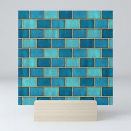 Ocean Blue Watercolor Subway Tiles Mini Art Print