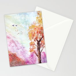 Magical Landscape Watercolor Painting Stationery Cards