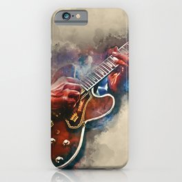 BB King's electric guitar, guitar wall art, studio decor, music room decor, gift for guitarist iPhone Case