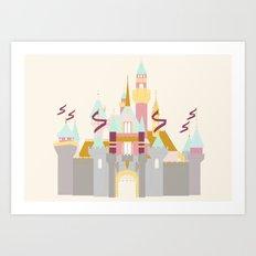 Sleeping Beauty Castle - cream background Art Print