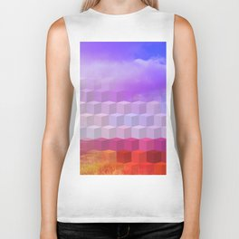 Ultra Surreal Countryside Violet Rainbow Biker Tank