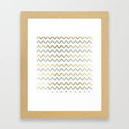 Chic blush green faux gold zigzag chevron Framed Art Print