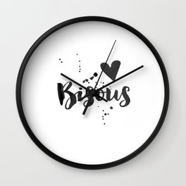 BISOUS PRINTS, French Quote,French Kiss,French Saying,Love Quote,Love Art,Gift For Her,Gift For Him, Wall Clock