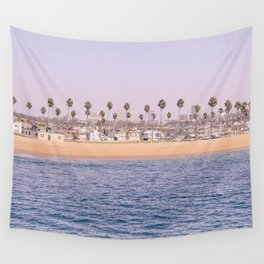 Vintage Newport Beach Print {2 of 4} | Photography Ocean Palm Trees Magenta Tropical Summer Sky Wall Tapestry
