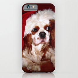 Santa Cavalier Spaniel Puppy iPhone Case
