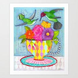 hummingbird tea Art Print