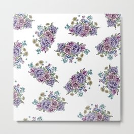 Mini Vintage Flowers Metal Print