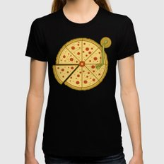 Pizza Vinyl SMALL Womens Fitted Tee Black
