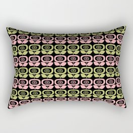 Mid Century Modern Retro Abstract Flowers Pink and Avocado Green on Black Rectangular Pillow