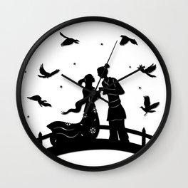The Cowherd & the Weaving Maiden - Magpie bridge Wall Clock