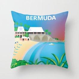 Bermuda - Skyline Illustration by Loose Petals Throw Pillow