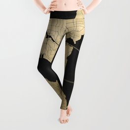 Seattle Black and Gold Street Map Leggings