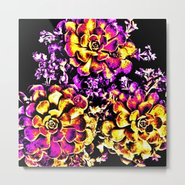 Purple Yellow Flower Plant, Pop Art Metal Print