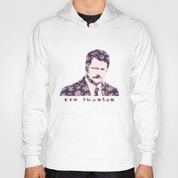 ron swanson Hoodies featuring Ron Swanson by MisfitKismet Designs
