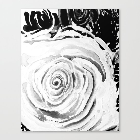 Roses For A Romantic Heart, Black and White Canvas Print