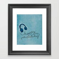 Headphone Happy Birthday Framed Art Print