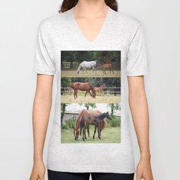 Horses family Unisex V-Neck